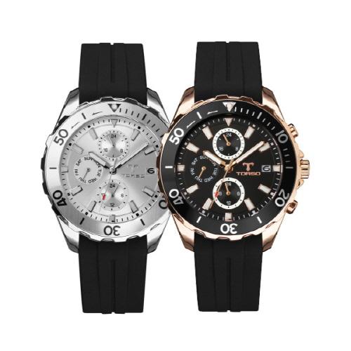 [TORSO]토르소 듀얼타임 우레탄 밴드 손목 시계 T50M SV